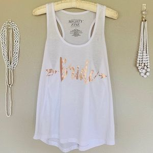 Mighty Fine Tops - Bride White, Rose Gold Oversized Tank Top Size L